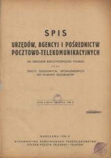 Spis urzędów, agencyj i pośrednictw pocztowo-telekomunikacyjnych na obszarze Rzeczypospolitej Polskiej oraz stacyj kolejowych, upoważnionych do wymiany telegramów. Stan z dnia 1 lipca 1936 r.