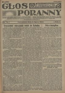 Głos Poranny, 1922, R. 1, nr 78
