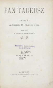 Pan Tadeusz. Paemàt Adama Mickiewicza. Kniha 1