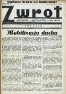 Zwrot. Prawo, prawda, praca, 1939, R. 3, nr 13. - Wyd. 2 po konfiskacie