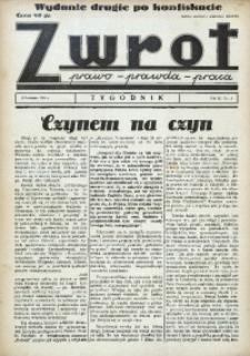 Zwrot. Prawo, prawda, praca, 1939, R. 3, nr 15. - Wyd. 2 po konfiskacie