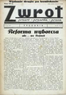 Zwrot. Prawo, prawda, praca, 1939, R. 3, nr 26. - Wyd. 2 po konfiskacie