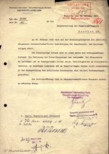 Pismo Górnośląskiego Urzędu Nadzoru. Dział Kotłów Parowych (Oberschlesicher Überwachungs-Verein Dampfkessel-Abteilung) do zarządu kopalni Fiedlersglück