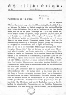 Schlesische Stimme, 1940, Jg. 22, H. 1/2