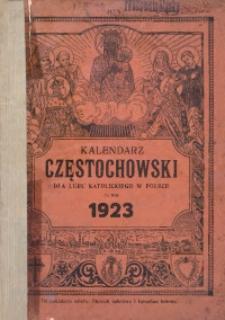 Kalendarz Częstochowski dla Ludu Katolickiego w Polsce na Rok 1923 Ozdobiony Licznymi Obrazkami