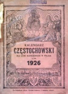 Kalendarz Częstochowski dla Ludu Katolickiego w Polsce na Rok 1926 Ozdobiony Licznymi Obrazkami
