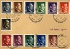 Kolekcja znaczków pocztowych okolicznościowych wydanych z okazji 10 lecia przyjęcia władzy przez NSDAP.