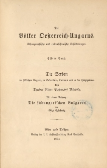 Die Serben im südlichen Ungarn, in Dalmatien, Bosnien und in der Herzegovina