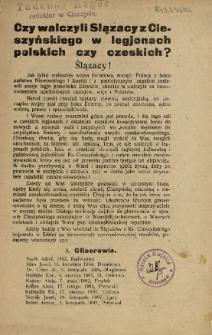 Czy walczyli Slązacy [!] z Cieszyńskiego w legjonach polskich czy czeskich?