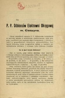 Do P. P. Odbiorców Elektrowni Okręgowej m. Cieszyna