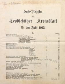 Sach-Register zum Leobschützer Kreisblatt für das Jahr 1912