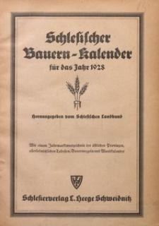 Schlesischer Bauernkalender für das Jahr 1928