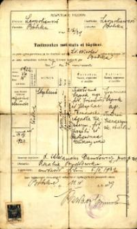 Świadecto urodzenia i chrztu wydane w 1939 roku.