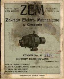 Cennik, No. 30, Motory elektryczne