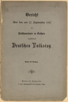 Bericht über den am 12. September 1897 im Rathhaussaale zu Teschen abgehaltenen Deutschen Volkstag