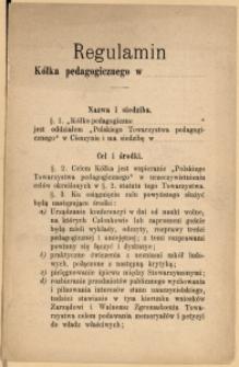 Regulamin Kółka pedagogicznego w ..., [1898]
