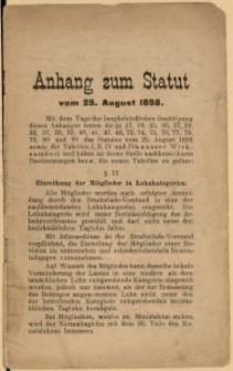 Anhang zum Statut vom 25. August 1898.