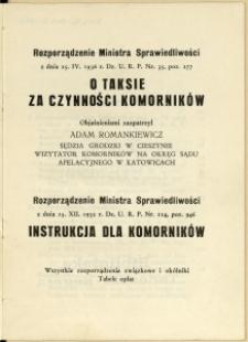 Rozporządzenie Ministra Sprawiedliwości z dnia 25.IV.1936 r. Dz. U. R. P. Nr. 35, poz. 277 O taksie za czynności komorników