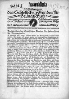 Mitteilungen des Schlesischen Bundes für Heimatschutz, 1918, Nr. 1