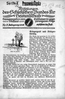 Mitteilungen des Schlesischen Bundes für Heimatschutz, 1918, Nr. 2