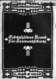 Mitteilungen des Schlesischen Bundes für Heimatschutz, 1920, H. 1