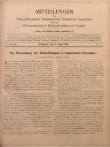 Mitteilungen des Oberschlesischen Bezirksvereins Deutscher Ingenieure und des Oberschlesischen Elektrotechnischen Vereins, 1910, Jg. 2, No. 7