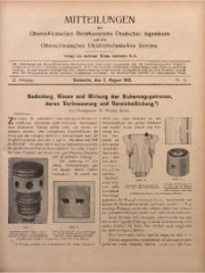 Mitteilungen des Oberschlesischen Bezirksvereins Deutscher Ingenieure und des Oberschlesischen Elektrotechnischen Vereins, 1910, Jg. 2, No. 15