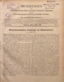 Mitteilungen des Oberschlesischen Bezirksvereins Deutscher Ingenieure und des Oberschlesischen Elektrotechnischen Vereins, 1912, Jg. 4, No. 1