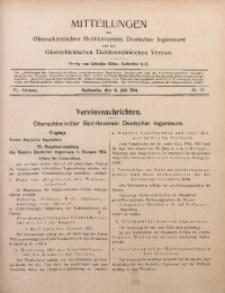Mitteilungen des Oberschlesischen Bezirksvereins Deutscher Ingenieure und des Oberschlesischen Elektrotechnischen Vereins, 1914, Jg. 6, No. 13