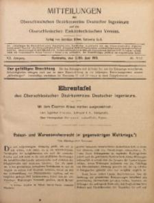 Mitteilungen des Oberschlesischen Bezirksvereins Deutscher Ingenieure und des Oberschlesischen Elektrotechnischen Vereins, 1915, Jg. 7, No. 11/12