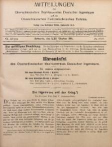 Mitteilungen des Oberschlesischen Bezirksvereins Deutscher Ingenieure und des Oberschlesischen Elektrotechnischen Vereins, 1915, Jg. 7, No. 19/20