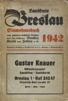 Einwohnerbuch für den Landkreis Breslau mit den Städten Brockau, Kanth und Zobten a. B. und allen Gemeinden. 1942