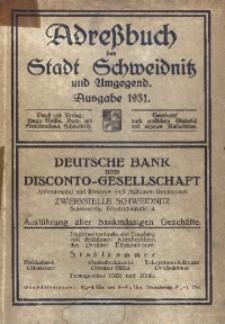 Adressbuch der Stadt Schweidnitz und Umgegnd. Ausgabe 1931