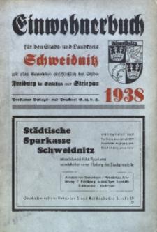 Adressbuch / Einwohnerbuch für den Stadt- und Landkreis Schweidnitz mit den Städten Schweidnitz, Freiburg i. Schles., Striegau und allen Gemeinden. 1938