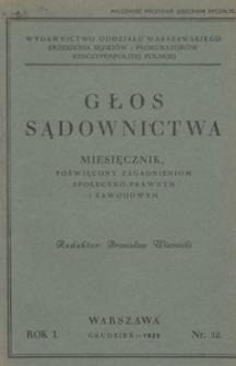 Głos Sądownictwa, 1929, R. 1, nr 12