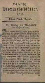 Schlesische Provinzialblätter, 1791, 14. Bd., 8. St.: August