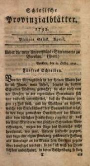 Schlesische Provinzialblätter, 1792, 15. Bd., 4. St.: April