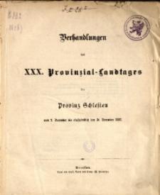 Verhandlungen des 30. Provinzial-Landtages der Provinz Schlesien vom 2. December bis einschließlich den 10. December 1883. Inhalts-Verzeichniß