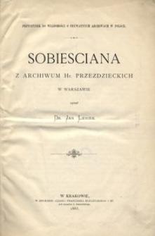 Sobiesciana z archiwum hr. Przeździeckich w Warszawie opisał Jan Le