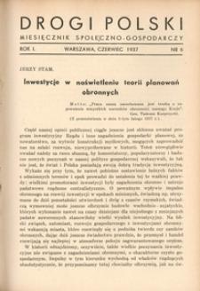 Drogi Polski. Miesięcznik społeczno-gospodarczy, 1937, R. 1, nr 6