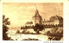 Brzeżany. Zamek Sieniawskich wg stalorytu A. Pilińskiego - na pierwszym planie ośmioboczna baszta, w której mieścił się arsenał zamkowy.