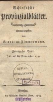 Schlesische Provinzialblätter, 1794, 20. Bd., 7. St.: July