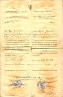 Dokument Ministerstwa Spraw Zagranicznych dla pracownika kolei udającego się do Paryża w celu sprowadzenia parowozów 1919 r.