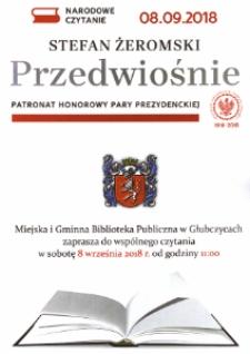 """Zaproszenie do wspólnego czytania """"Przedwiośnia"""" Stefana Żeromskiego. Wrzesień 2018."""