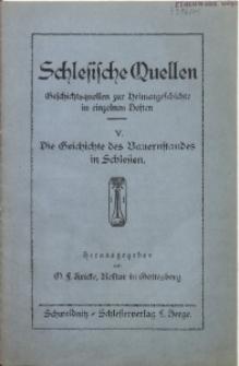 Schlesische Quellen, H. 5, Die Geschichte des Bauernstandes in Schlesien