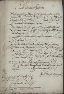 Materiały dotyczące sporu pomiędzy miastem Cieszyn reprezentowanym przez prokuratora kameralnego Georga Wilhelma von Eckhart a Gottfriedem Logau z Altendorfu, panem Trzycieża, z powodu sprzedaży przez niego piwa w karczmie w Trzycieżu wbrew przywilejowi milowemu miasta Cieszyna z lat 1665-1678