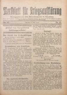 Merkblatt für Kriegsaufklärung, 1917/1918, Nr. 13
