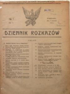 Dziennik Rozkazów, 1922, R. 5, nr 1