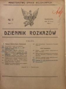 Dziennik Rozkazów, 1922, R. 5, nr 9