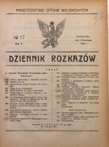 Dziennik Rozkazów, 1922, R. 5, nr 17